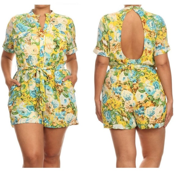 06176d93798 Plus Yellow Aqua Floral Shirt Romper Cutout Back